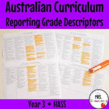 Year 3 Australian Curriculum Reporting Grade Descriptors - HASS