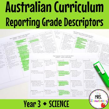 Year 3 Australian Curriculum Reporting Grade Descriptors - SCIENCE