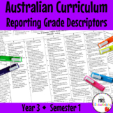 Year 3 ENGLISH AND MATHS Australian Curriculum Reporting Grade Descriptors Sem 1