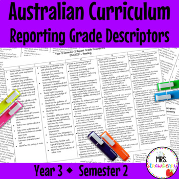 Year 3 Australian Curriculum Reporting Grade Descriptors – Semester 2