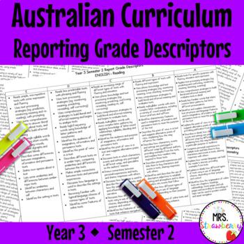 Year 3 Australian Curriculum Reporting Grade Descriptors –