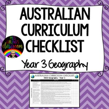 Year 3 Geography - Australian Curriculum Checklist