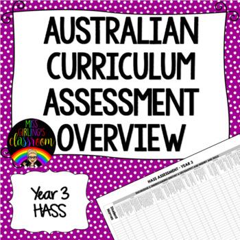 Year 3 HASS Australian Curriculum Assessment Overview