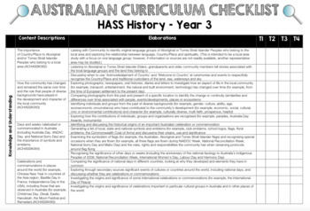 Year 3 History - Australian Curriculum Checklist