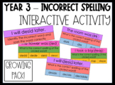 Year 3 - Incorrect Spelling Activity - GROWING PACK