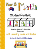 Year 3 Australian Math Student Portfolio with Marzano Scales