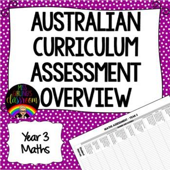 Year 3 Maths Australian Curriculum Assessment Overview