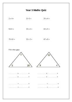 Year 3 Maths Quiz