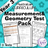 Year 3 Measurement & Geometry Maths Test Pack- Australian Curriculum