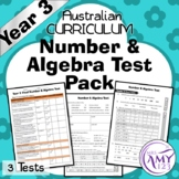 Year 3 Number & Algebra Maths Test Pack - Australian Curriculum