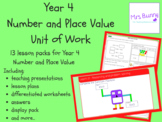 Year 4 Number and Place Value Unit Pack - UK