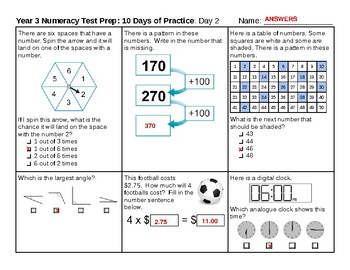 Year 3 Numeracy Test Preparation 2-Day Sampler (from my 10-Day Packet)