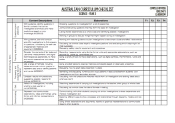 Year 3 Science - Australian Curriculum Checklist