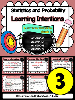 Year 3 – Statistics & Probability Learning INTENTIONS & Success Criteria Posters