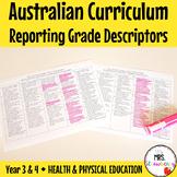 Year 3 and 4 Australian Curriculum Reporting Grade Descrip