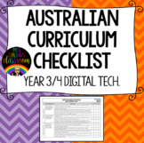 Year 3 and 4 Digital Technologies - Australian Curriculum Checklist