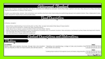 Year 3 and 4 Drama | Australian Curriculum Checklist