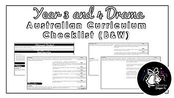 Year 3 and 4 Drama (Black & White) | Australian Curriculum Checklist