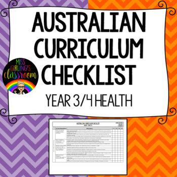 Year 3 and 4 Health - Australian Curriculum Checklist