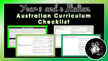 Year 3 and 4 Italian | Australian Curriculum Checklist