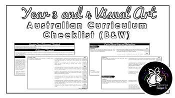 Year 3 and 4 Visual Arts (Black & White)   Australian Curriculum Checklist
