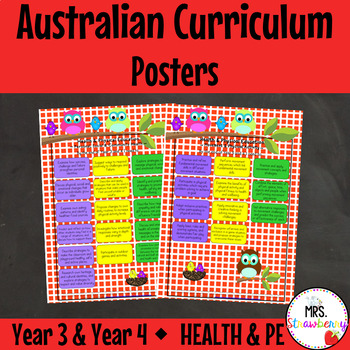 Year 3 and Year 4 Australian Curriculum Posters - Health and Sport