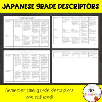 Year 3 and Year 4 Australian Curriculum Reporting Grade Descriptors - Japanese