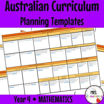 Year 4 Australian Curriculum Planning Templates: Mathematics - EDITABLE