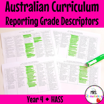 Year 4 Australian Curriculum Reporting Grade Descriptors - HASS