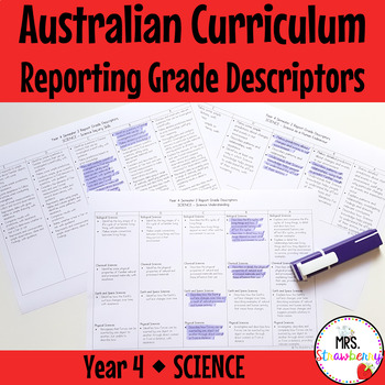 Year 4 Australian Curriculum Reporting Grade Descriptors - SCIENCE