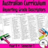 Year 4 Australian Curriculum Reporting Grade Descriptors: ENGLISH/ MATH – Sem 1