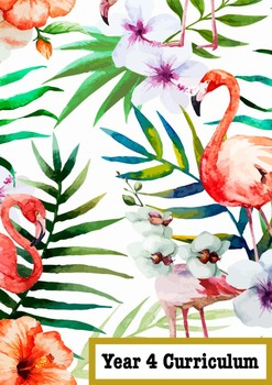 Year 4 Curriculum Book Cover Tropical  Flamingo Theme