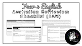 Year 4 English (Black & White) | Australian Curriculum Checklist