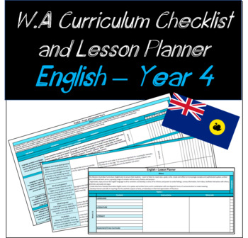 Year 4 English Western Australian Curriculum Checklist and Lesson Planner