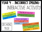 Year 4 - Incorrect Spelling Activity - GROWING PACK