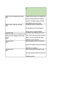 Physical Education Year 4 - Invasion Games Rubric