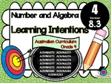 Year 4 Math – Number & Algebra Learning INTENTIONS & Success Criteria Posters