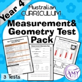 Year 4 Measurement & Geometry Maths Test Pack- Australian