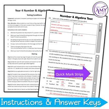 Year 4 Number & Algebra Maths Test Pack - Australian Curriculum