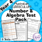 Year 4 Number & Algebra Maths Test Pack - Australian Curriculum