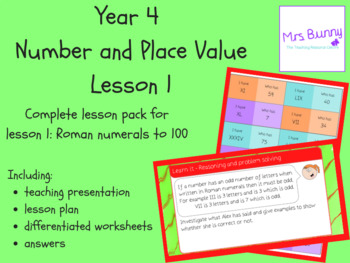 Year 4 Number and Place Value: Roman Numerals