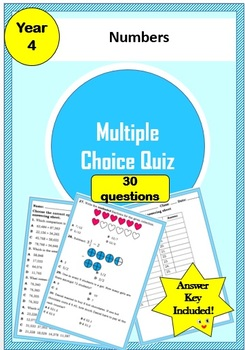 Year 4 Numbers- Multiple Choice Quiz