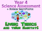 Year 4 Science Assessment: Living Things and Their Habitats + Poster