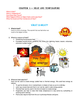 Year 4 Science Heat and Temperature
