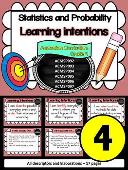 Year 4 – Statistics & Probability Learning INTENTIONS & Success Criteria Posters