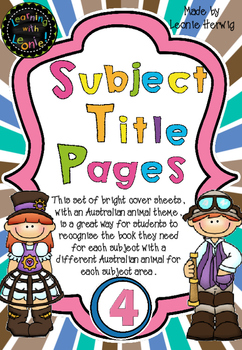 Year 4 Subject Title Pages –Free – Australian Animals