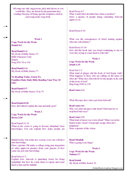 Year 4 of 4 year Bible Reading Schedule-Elementary