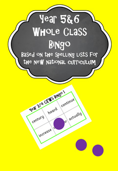 Year 5&6 Whole Class Bingo - based on the spelling lists f