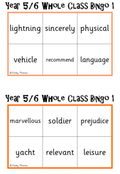 Year 5&6 Whole Class Bingo - based on the spelling lists for the new NC