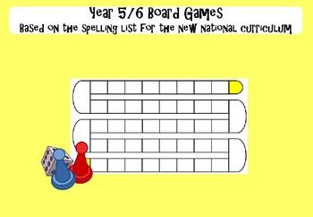 Year 5&6  Board Games - based on the spelling lists for the new NC